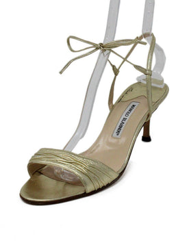 Manolo Blahnik Metallic Gold Leather Sandals