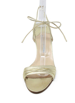 Manolo Blahnik Metallic GoldLeather Sandals 2