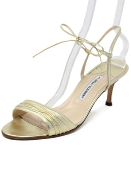 Manolo Blahnik Metallic GoldLeather Sandals 1