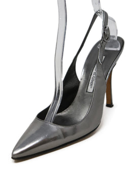 Manolo Blahnik Metallic Silver Leather Slingbacks 1