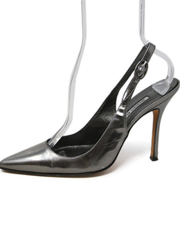 Manolo Blahnik Metallic Silver Leather Slingbacks 2