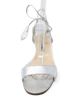 Manolo Blahnik Metallic Silver Leather Sandals 2