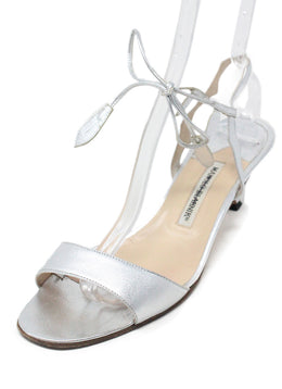 Manolo Blahnik Metallic Silver Leather Sandals 1