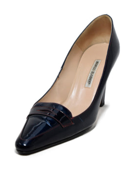 Manolo Blahnik Navy Patent Leather Red Stitching Shoes 1