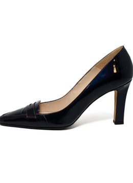 Manolo Blahnik Navy Patent Leather Red Stitching Shoes 2