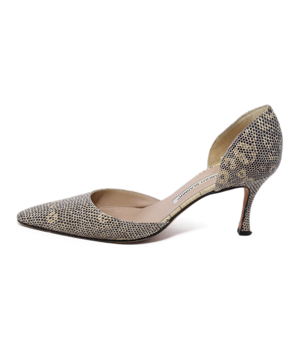 Manolo Blahnik Neutral Beige Leather Heels 2