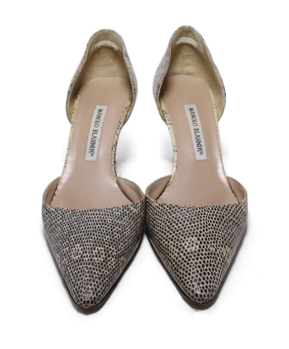 Manolo Blahnik Neutral Beige Leather Heels 4