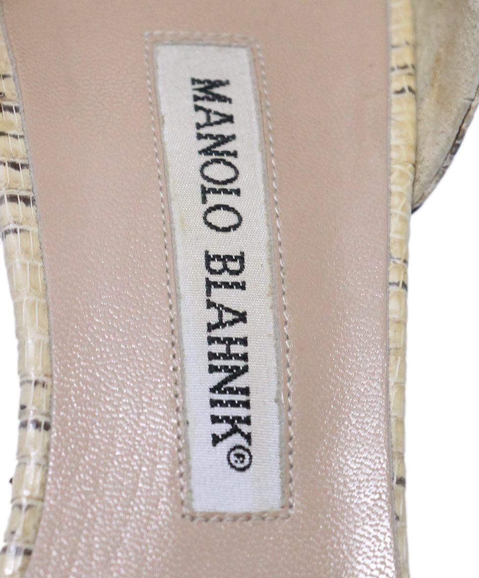 Manolo Blahnik Neutral Beige Leather Heels 7
