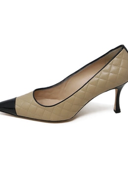 Manolo Blahnik Beige Quilted Leather Black Heels 2