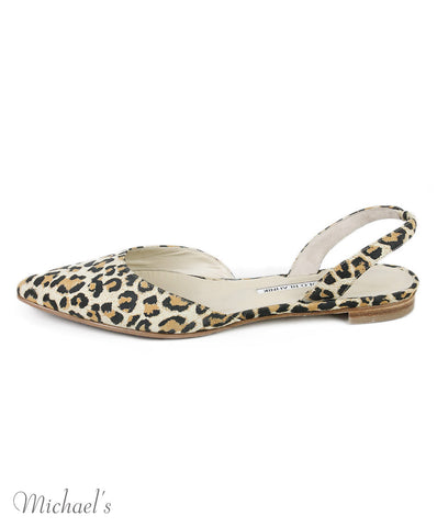 Manolo Blahnik Neutral Animal Print Suede Flats Sz 39.5