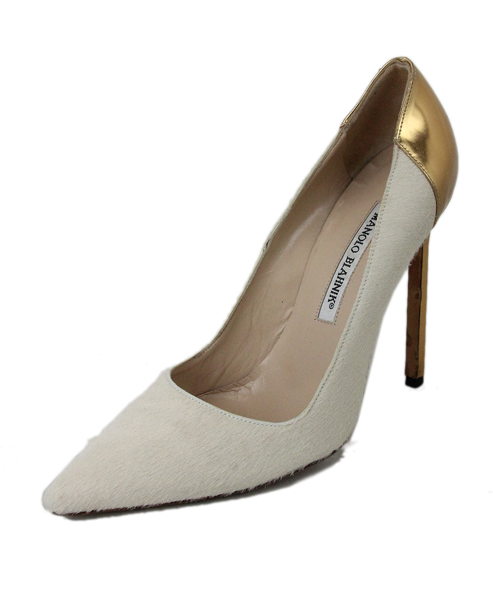 Manolo Blahnik Neutral Tan Fur with Gold Leather Heels 1