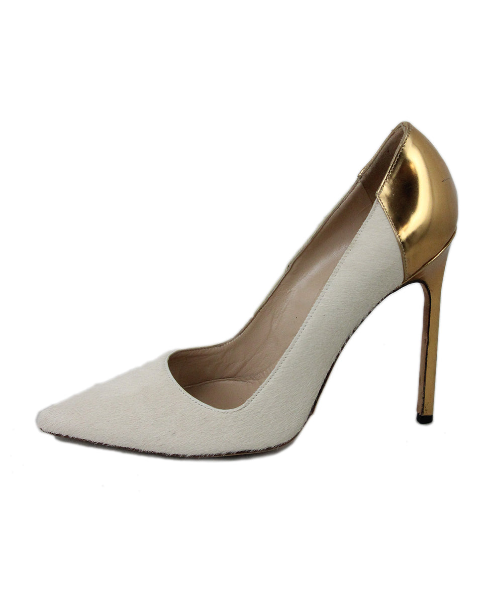 Manolo Blahnik Neutral Tan Fur with Gold Leather Heels 2