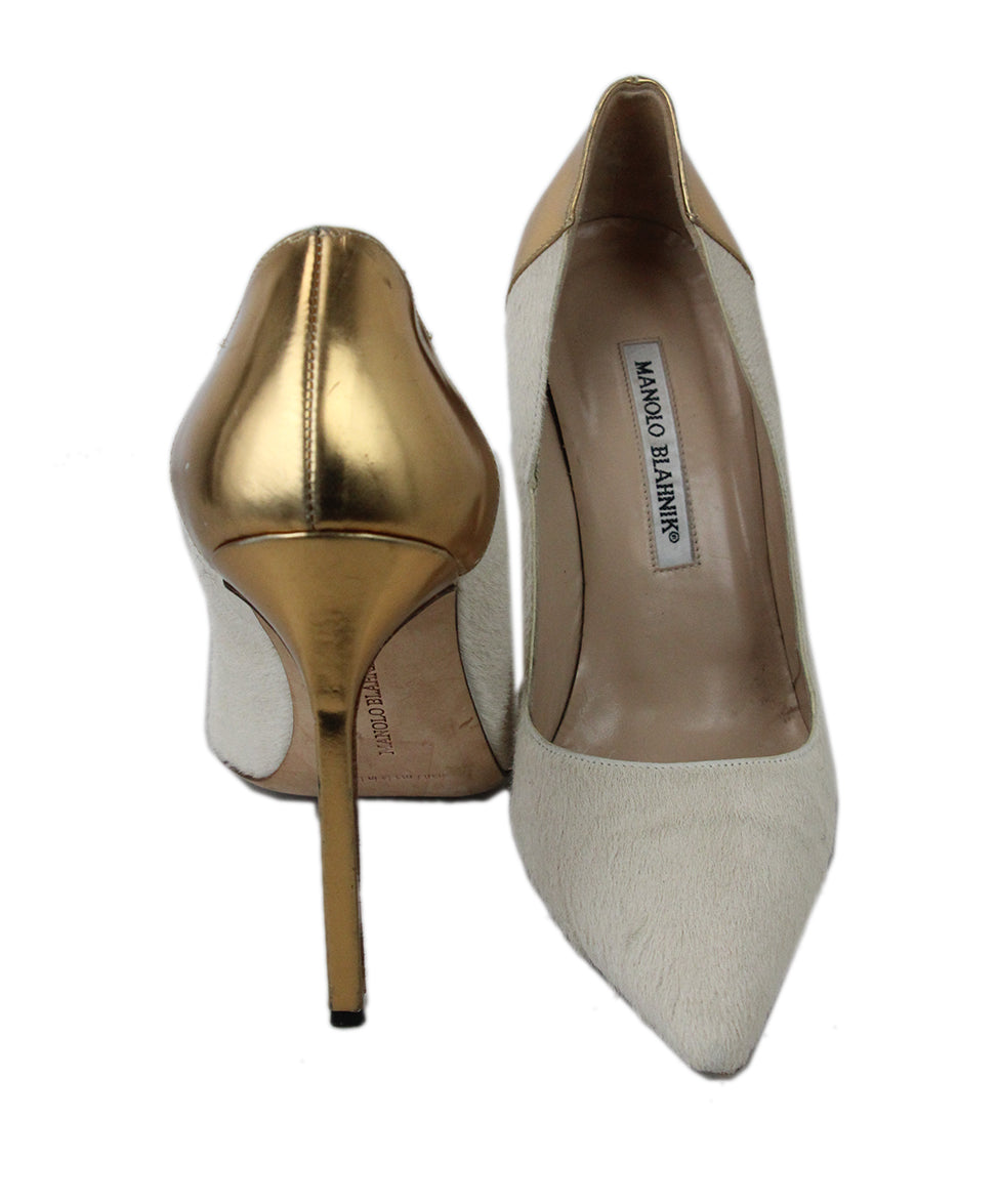 Manolo Blahnik Neutral Tan Fur with Gold Leather Heels 3