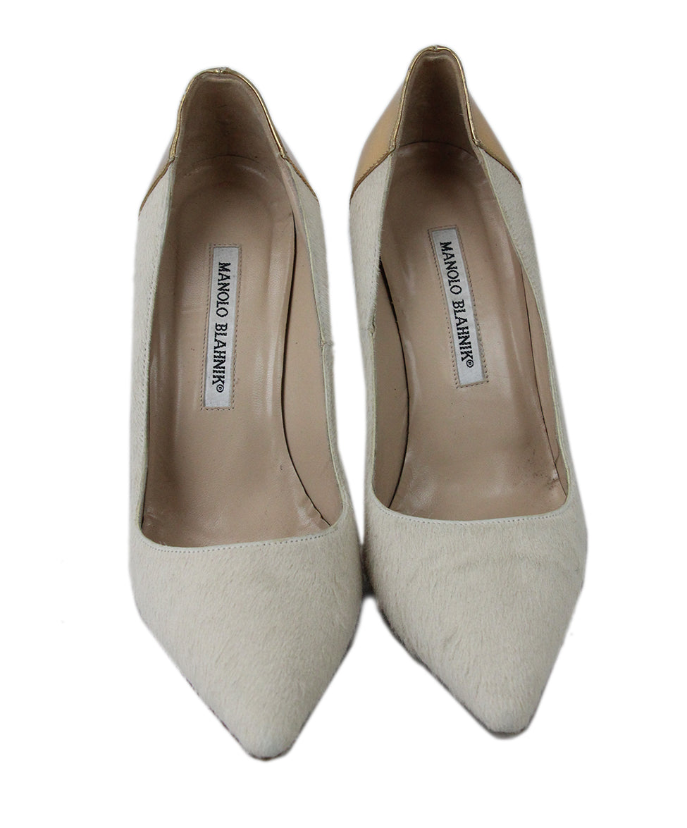Manolo Blahnik Neutral Tan Fur with Gold Leather Heels 4