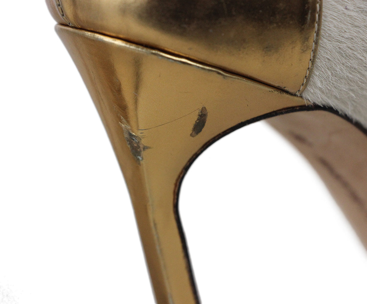 Manolo Blahnik Neutral Tan Fur with Gold Leather Heels 8