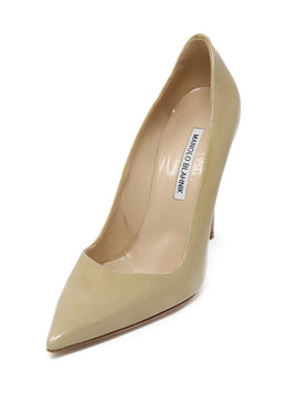Manolo Blahnik Nude Patent Leather Heels