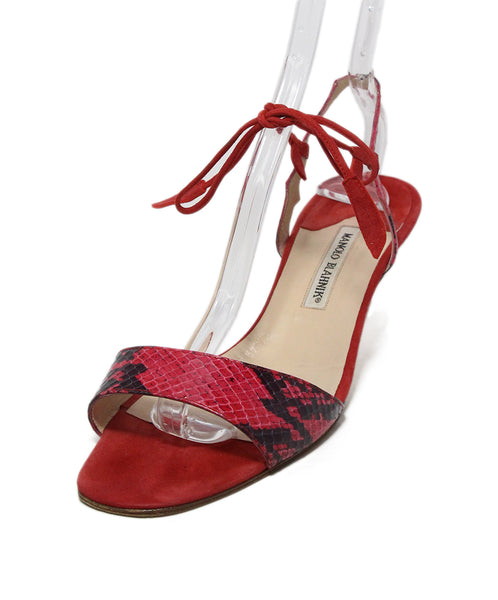 Manolo Blahnik Red Black Snake Skin Suede Sandals 1