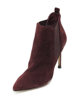 Manolo Blahnik Red Burgundy Suede Elastic Trim Booties