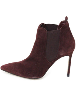 Manolo Blahnik Red Burgundy Suede Elastic Trim Booties 1