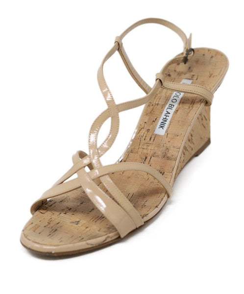 Sandals Manolo Blahnik Shoe Neutral Patent Leather Cork Wedge Shoes 1