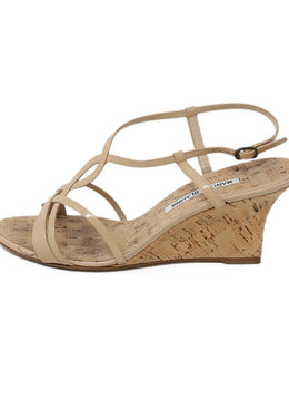 Sandals Manolo Blahnik Shoe Neutral Patent Leather Cork Wedge Shoes 2