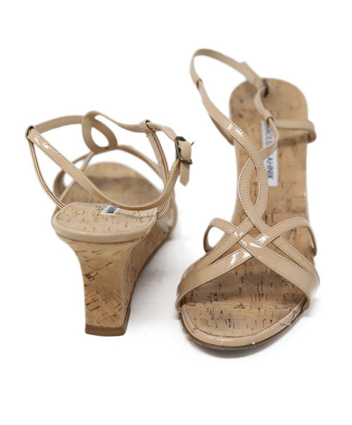 Sandals Manolo Blahnik Shoe Neutral Patent Leather Cork Wedge Shoes 3