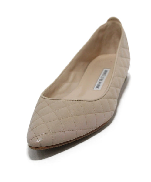 Manolo Blahnik Tan quilted leather flats 1
