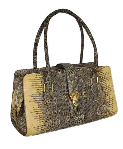 Manolo Blahnik Yellow Black Lizard Satchel 1