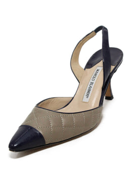 Manolo Blahnik Beige Navy Quilted Leather Sling Backs Heels 1