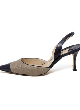 Manolo Blahnik Beige Navy Quilted Leather Sling Backs Heels 3