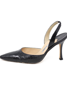 Manolo Blahnik Black Alligator Leather Slingback Heels sz 8