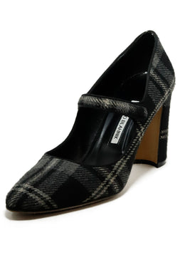 Manolo Blahnik Black Charcoal Plaid Mary Jane Heels 1