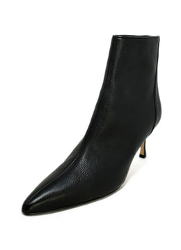 Manolo Blahnik Black Grained Leather Booties 1