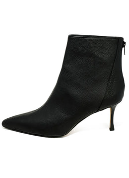 Manolo Blahnik Black Grained Leather Booties 2