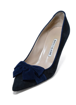 Manolo Blahnik Black Navy Suede Bow Detail Heels 1