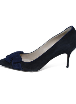 Manolo Blahnik Black Navy Suede Bow Detail Heels 2