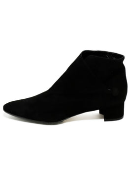 Manolo Blahnik Black Suede Button Trim Booties 1
