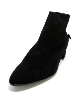 Manolo Blahnik Black Suede Button Trim Booties 2
