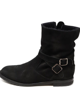 Manolo Blahnik Black Shearling Booties 1