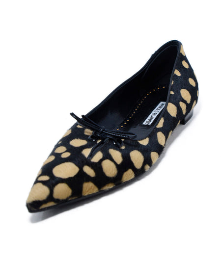 Chloe Black Beige Animal Print Leather Flats Sz 37