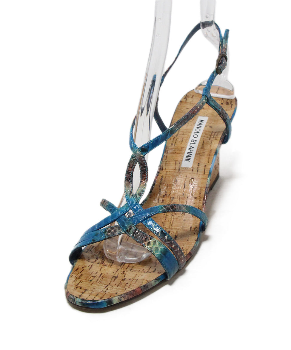 Manolo Blahnik blue aqua snake skin cork wedge sandals 1