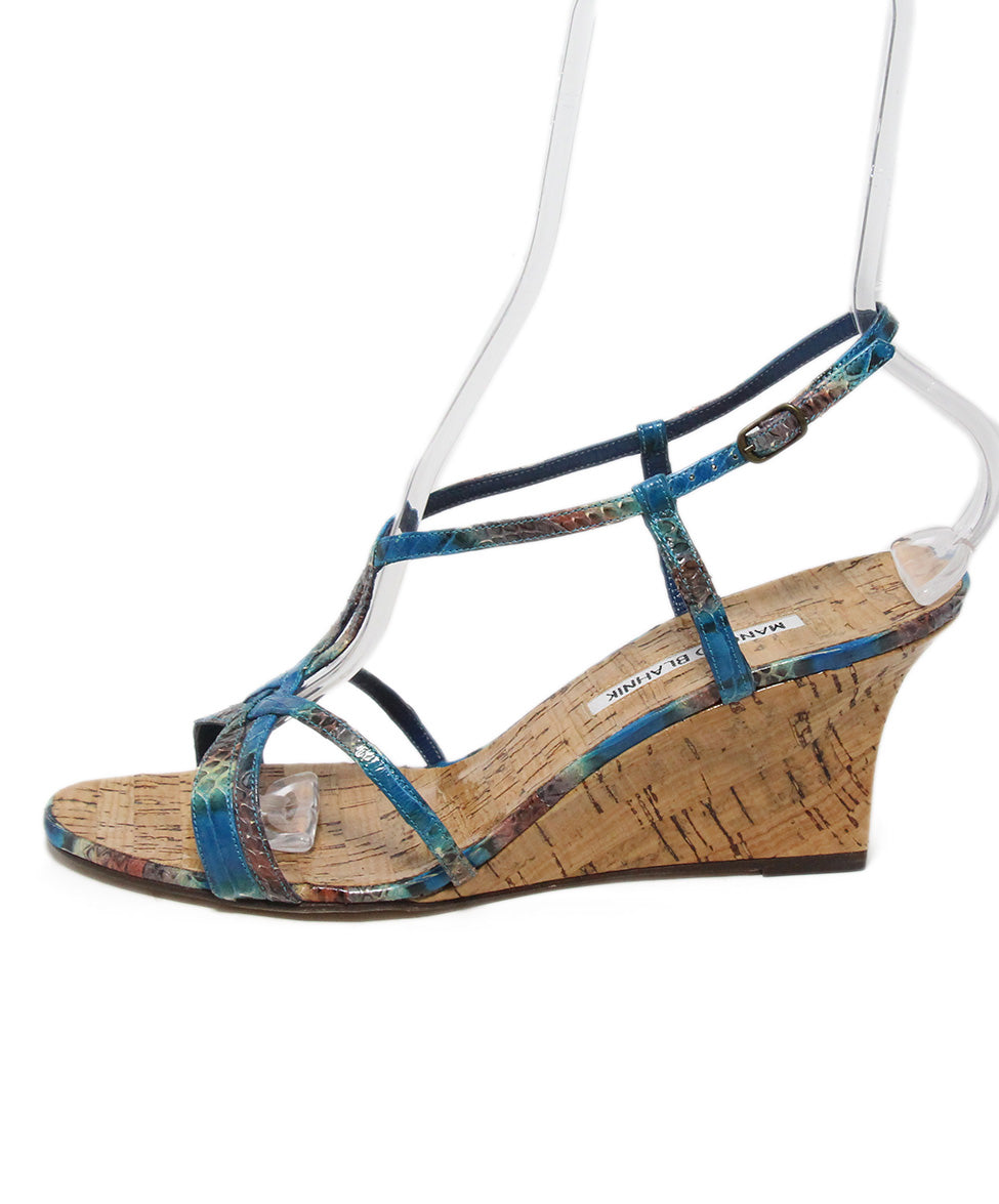 Manolo Blahnik blue aqua snake skin cork wedge sandals 2