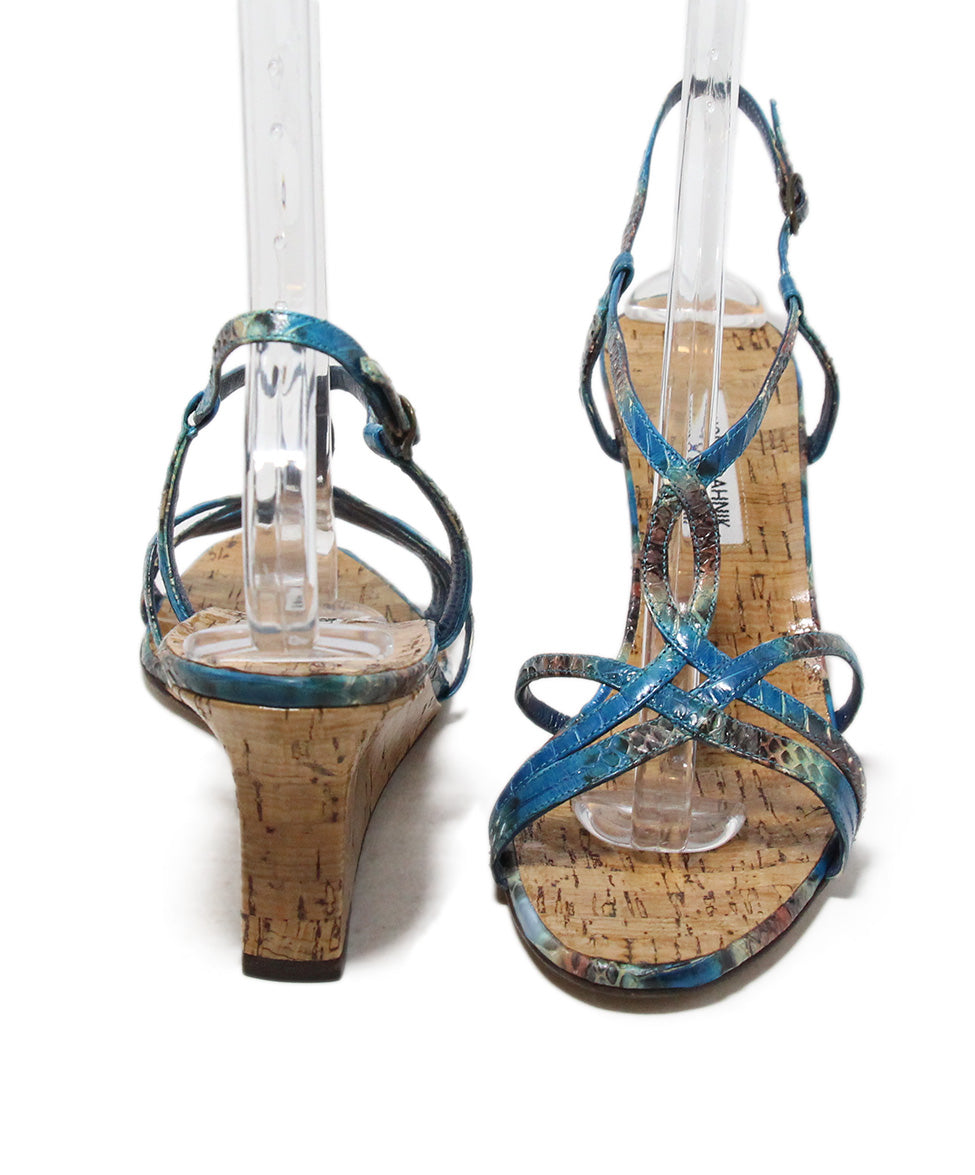Manolo Blahnik blue aqua snake skin cork wedge sandals 3
