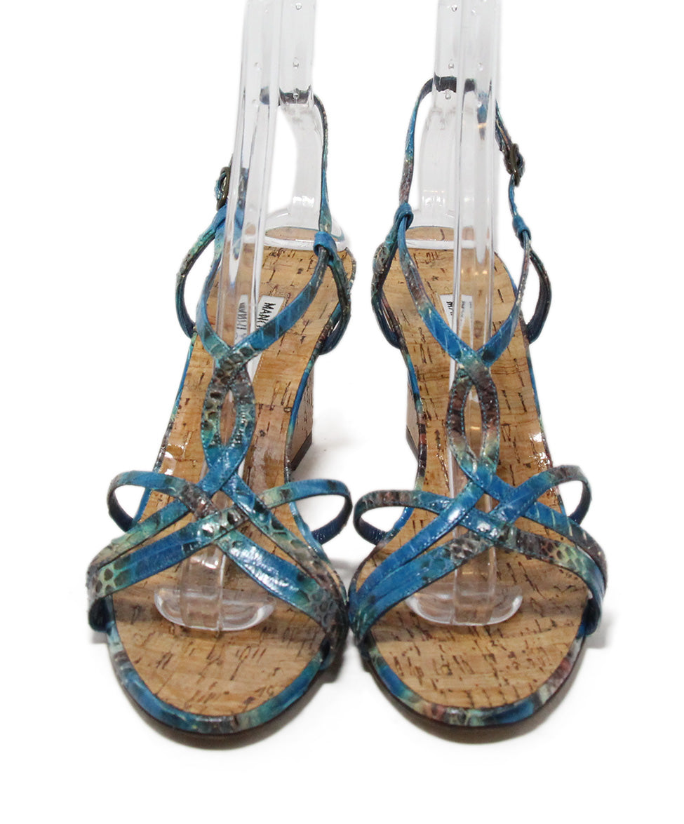 Manolo Blahnik blue aqua snake skin cork wedge sandals 4