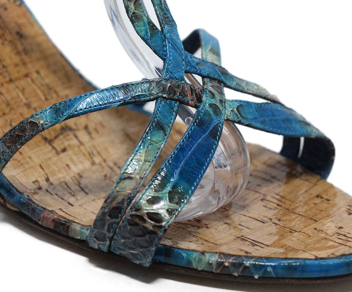 Manolo Blahnik blue aqua snake skin cork wedge sandals 8