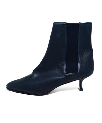 Manolo Blahnik Blue Navy Leather Elastic Trim Booties 1