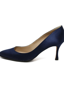 Manolo Blahnik Blue Navy Satin Heels 2