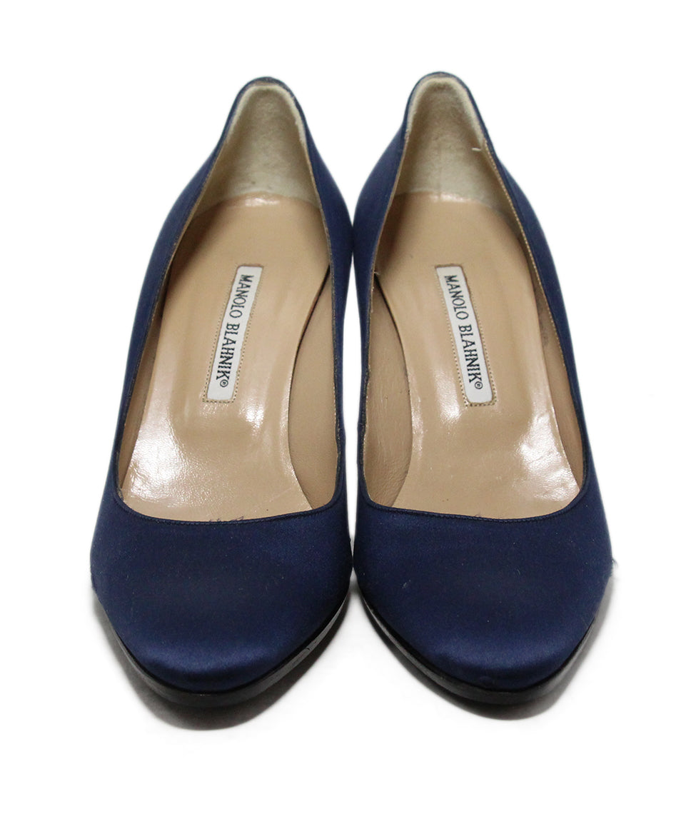 Manolo Blahnik Blue Navy Satin Heels 4