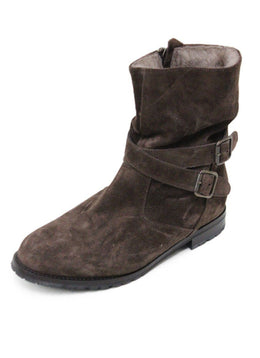 Manolo Blahnik Brown Suede Shearling Lining Booties