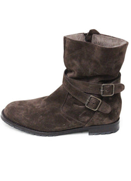 Manolo Blahnik Brown Suede Shearling Lining Booties 1